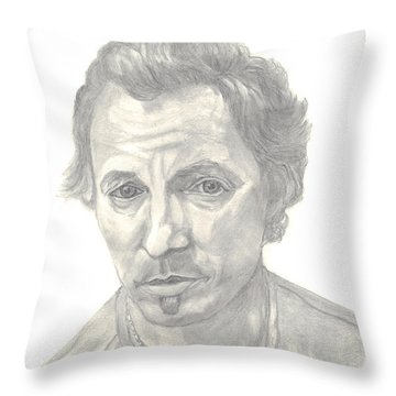 Throw Pillow featuring the drawing Bruce Springsteen Portrait by Carol Wisniewski