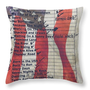 Bruce Springsteen Setlist At Rock In Rio Lisboa 2012 Throw Pillow