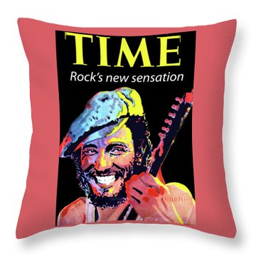 Bruce Springsteen Time Magazine Cover 1980s Throw Pillow