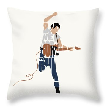 Bruce Springsteen Typography Art Throw Pillow