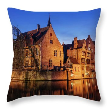 Bruges Architecture At Blue Hour Throw Pillow