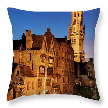 Bruges Belfry At Night Throw Pillow