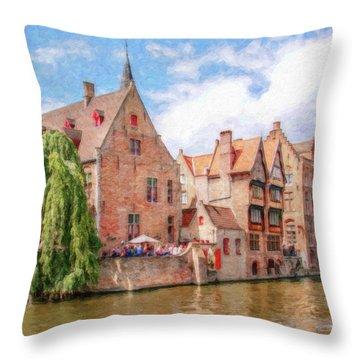 Bruges Canal Belgium Dwp-2611575 Throw Pillow