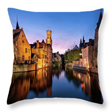Bruges Canals At Blue Hour Throw Pillow
