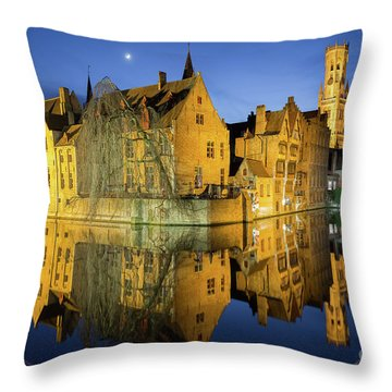 Brugge Twilight Throw Pillow by JR Photography