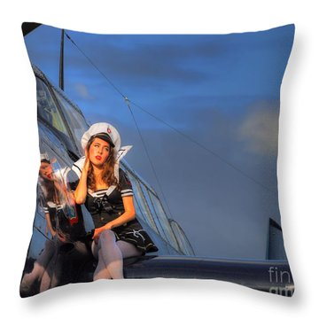 Brunette Navy Girl Throw Pillow