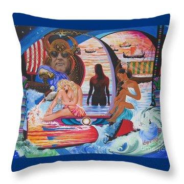 Blaa Kattproduksjoner     Two  Godessess Enjoying  The Nile Spa Throw Pillow