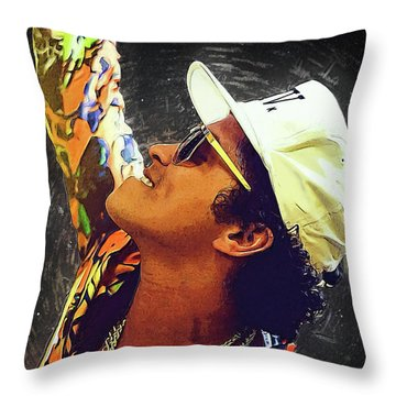 Bruno Mars Throw Pillow by Semih Yurdabak