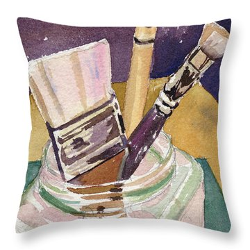 Throw Pillow featuring the painting Brushes by Kris Parins