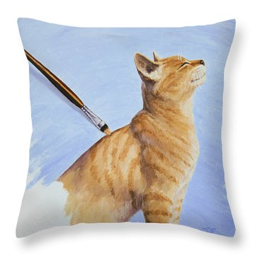 Brushing The Cat Throw Pillow by Crista Forest