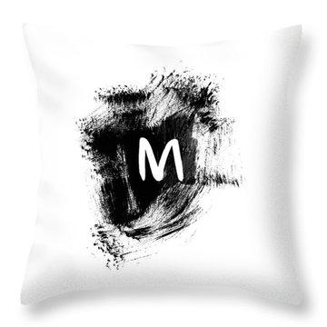 Brushstroe M -monogram Art By Linda Woods Throw Pillow