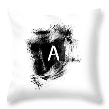 Brushstroke A -monogram Art By Linda Woods Throw Pillow