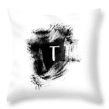 Brushstroke T -monogram Art By Linda Woods Throw Pillow