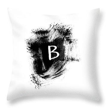 Brushtroke B-monogram Art By Linda Woods Throw Pillow