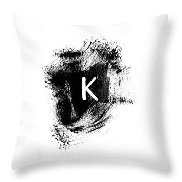 Brushtroke K Monogram Art By Linda Woods Throw Pillow