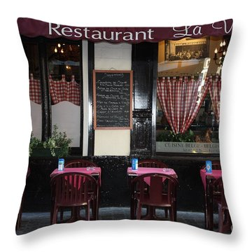 Brussels - Restaurant La Villette Throw Pillow by Carol Groenen