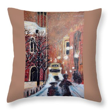 Brussels At Night Throw Pillow by Carolyn Donnell