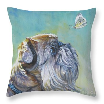Brussels Griffon With Butterfly Throw Pillow by Lee Ann Shepard