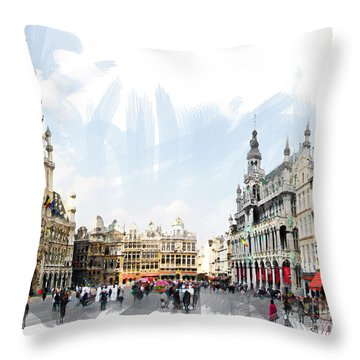 Brussels Grote Markt  Throw Pillow by Tom Cameron