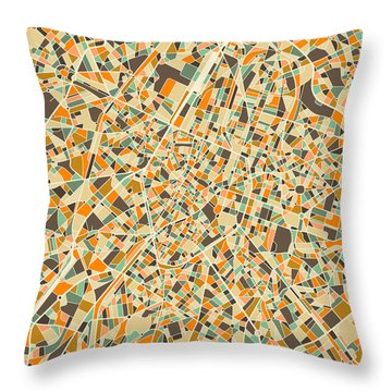 Brussels Map Throw Pillow by Jazzberry Blue