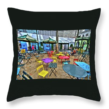 Bryant Park In Vivid Color Throw Pillow by Laura Bode