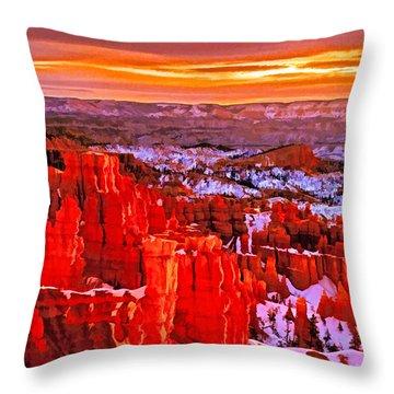 Bryce Dawn Throw Pillow by Dennis Cox WorldViews