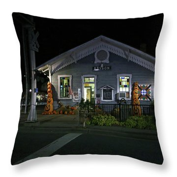 Bryson City Train Station Throw Pillow