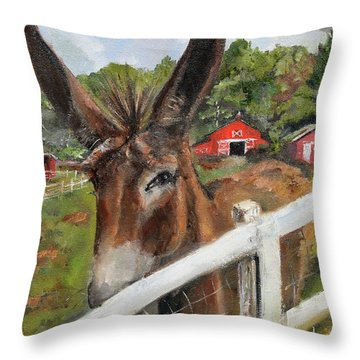 Throw Pillow featuring the painting Bubba - Steals The Show -donkey by Jan Dappen