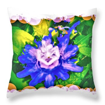 Bubble Border Passion Flower 2 Throw Pillow