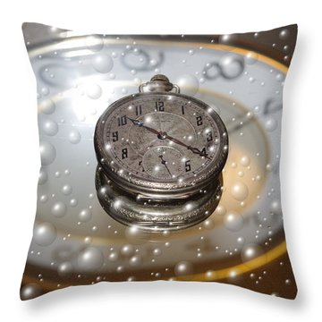 Bubble Clock Throw Pillow
