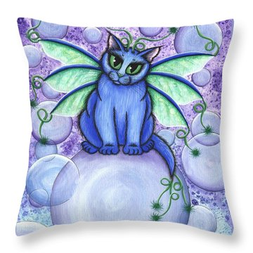 Bubble Fairy Cat Throw Pillow