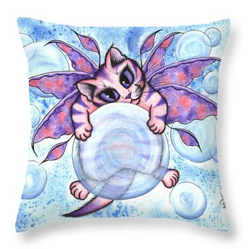 Bubble Fairy Kitten Throw Pillow