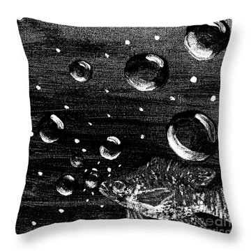 Throw Pillow featuring the painting Bubble Fish Underwater by Janelle Dey