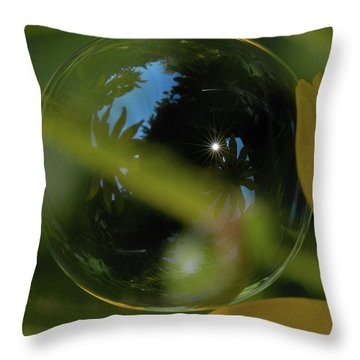 Bubble In The Garden Throw Pillow