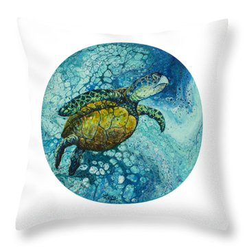 Throw Pillow featuring the painting Bubble Surfer  by Darice Machel McGuire