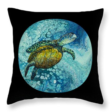 Throw Pillow featuring the painting Bubble Surfer On Black by Darice Machel McGuire