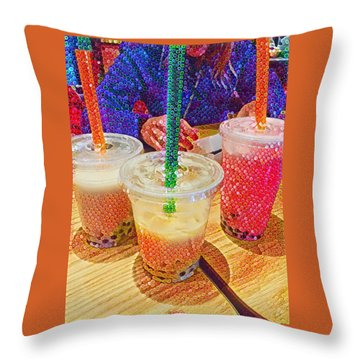 Bubble Tea For Three Throw Pillow