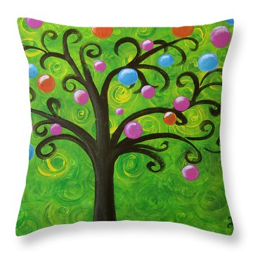 Bubble Tree Throw Pillow by Oiyee At Oystudio