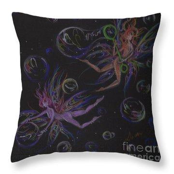 Bubble Wand Throw Pillow by Dawn Fairies