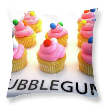 Throw Pillow featuring the photograph Bubblegum Cupcakes by Beth Saffer