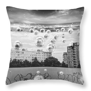 Bubbles And The City Throw Pillow