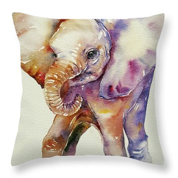 Bubbles Baby Elephant Throw Pillow