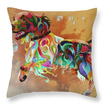 Bubbles  English Springer Throw Pillow