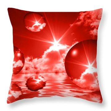 Throw Pillow featuring the photograph Bubbles In The Sun - Red by Shane Bechler