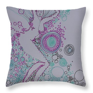 Throw Pillow featuring the drawing Bubbles by Marat Essex