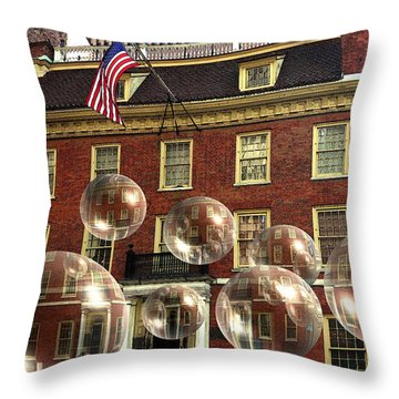 Bubbles Of New York History - Photo Collage Throw Pillow