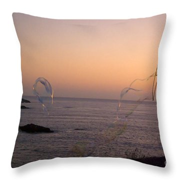 Bubbles On The Beach Throw Pillow by Jim And Emily Bush