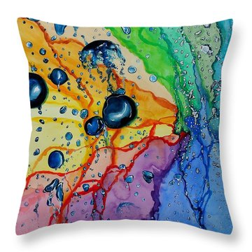 Bubbles Throw Pillow by Raymond Perez