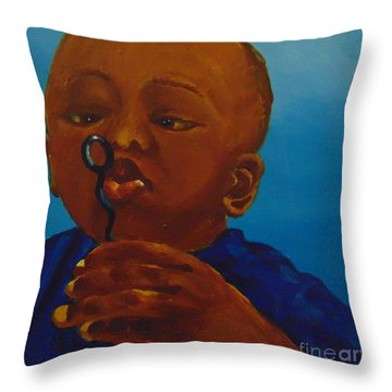 Throw Pillow featuring the painting Bubbles by Saundra Johnson