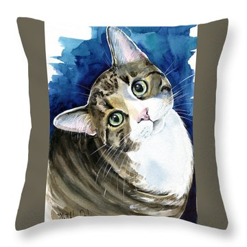 Bubbles - Tabby Cat Painting Throw Pillow